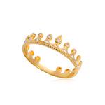 Кольцо из серебра «Принцесса на горошине» (золочение), белое