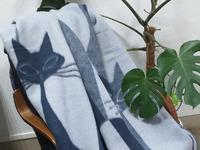 Одеяла 100% шерсть Мериноса 170х205 - Кошки ( СИНИЙ)