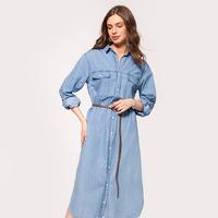 Джинсовое платье-рубашка  Цвет: голубой   Артикул: D52.024
