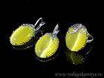 Кольцо Серьги с кошачьим глазом, цв.лимонный размер 20  Артикул: КС194022-20