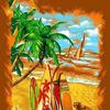 """Полотенце пляжное """"Серфинг 3D"""" 100*150 см. вафля хлопок 100%"""