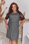 Твидовое платье с кружевом 7914