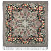 """Платок шерстяной с шелковой бахромой """"Цветочный калейдоскоп"""", вид 1, 146x146 см Рисунок 1789-1"""