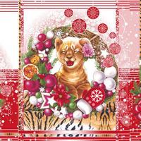 Набор вафельных полотенец Тигры в шапках (3шт)