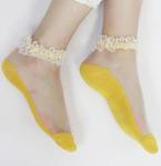 """Короткие женские носки """"Прозрачные Цветочки"""""""