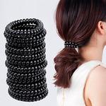 Набор 10 шт. Резинка-пружинка для волос, ЧЕРНАЯ O2,5см