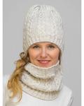 Комплект зимний женский шапка+снуд Лиана (Цвет молочный)