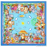 """Платок из хлопка """"Коты на рыбалке"""", вид 13, 80х80см (Павлово-Посадская платочная мануфактура)"""