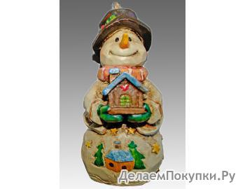 Статуэтка-подвеска Снеговик с домиком 3D1108